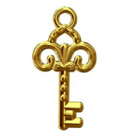 24k Gold Vermeil Old Fashioned Key Charm